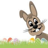 Fényképek barna húsvéti nyuszi gyep és színes tojást