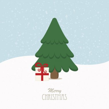 christmas tree gift snowy background