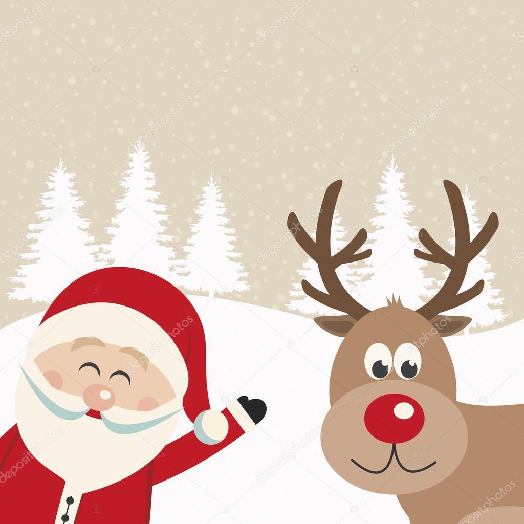 Sfondi Natalizi Renne.Babbo Natale E Renne Nevoso Sfondo Vettoriali Stock C Dariusl