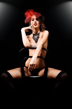 Fashion beauty-burlesque girl portrait
