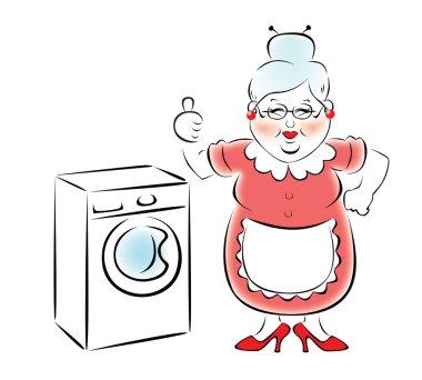 My grandmother bought a new washing machine.
