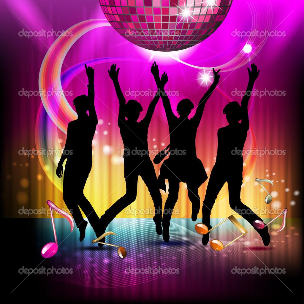 Notas musicais com bola de discoteca vetor de stock - Bola de discoteca de colores ...