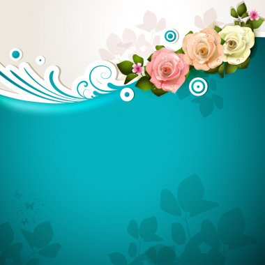 Blue background with roses