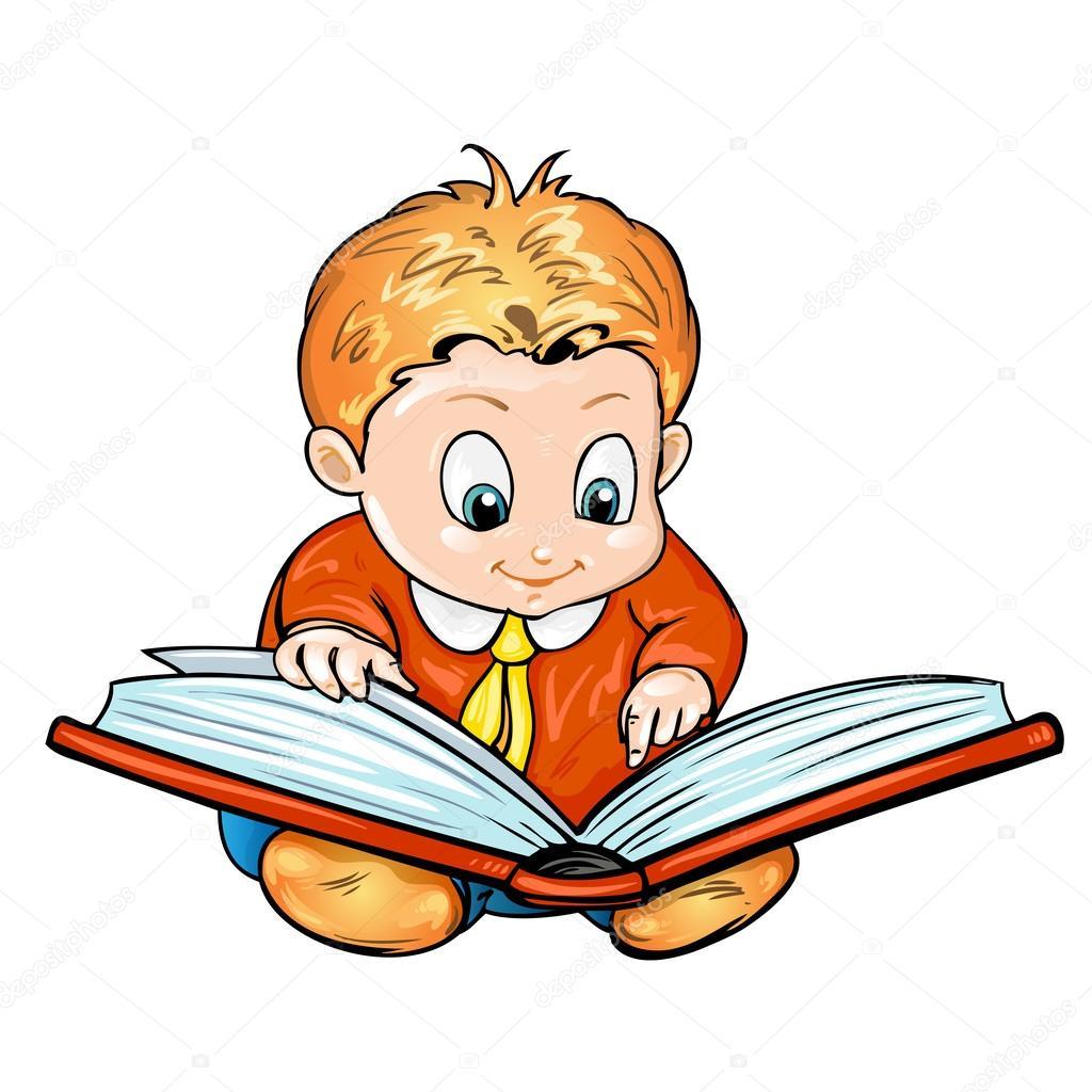 crianças dos desenhos animados lendo um livro vetores de stock