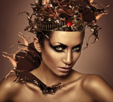 woman with chocolate in head and splash