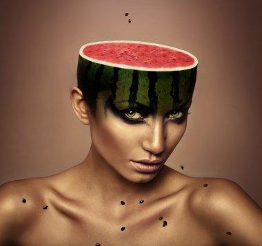 woman with watermelon head