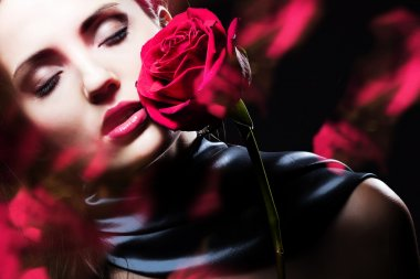 attractive woman with rose