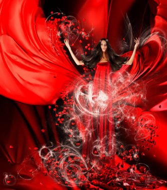goddess of love in red dress with magnificent hair and hearts