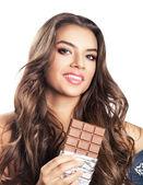 Fotografie Frau mit langem Haar und Schokolade