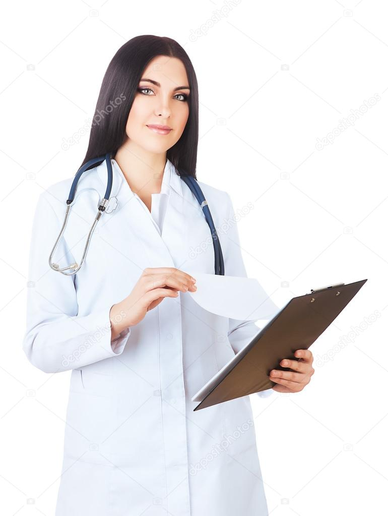 Attractive doctor in white coat with folder - Stock Photo ©