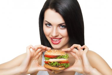 cute girl and hamburger