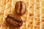 Fotografie kávová zrna s slunečního světla na drsné pytloviny