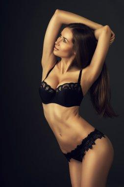 attractive woman in dark lingerie