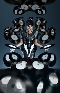 Futuristic african woman screaming with vinyl records