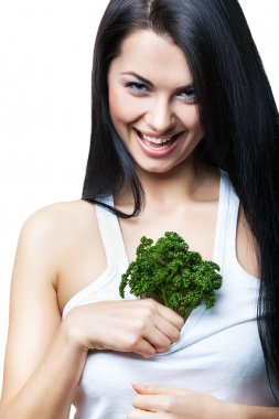 flirting woman with parsley in top