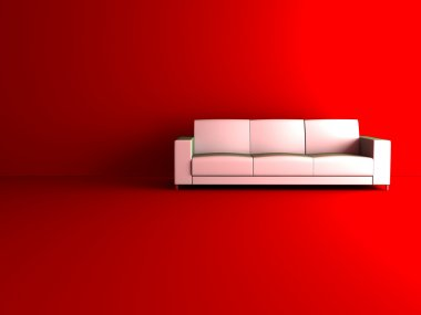 White sofa in red room