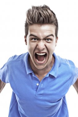 Young man screaming