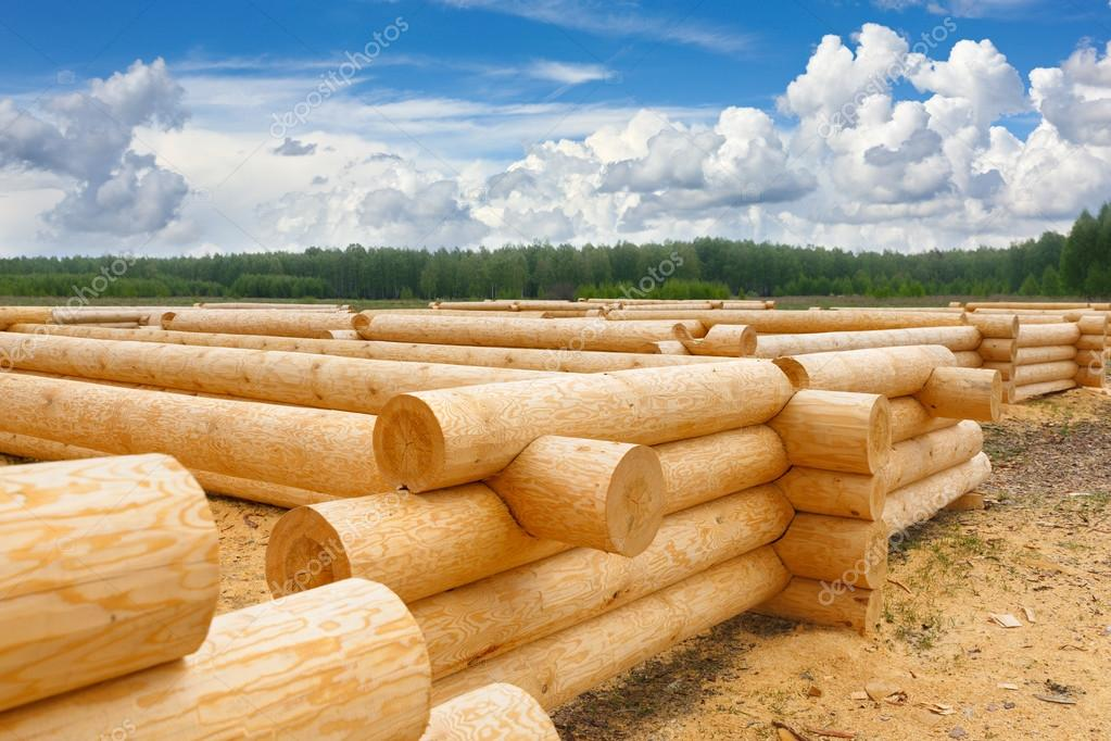 building a house from wooden logs