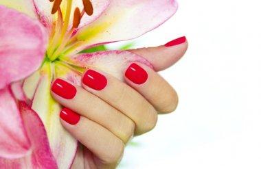 Coral nails.