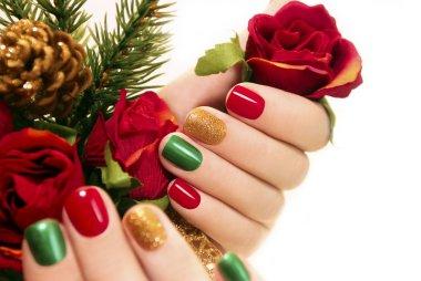 Beautiful multicolored manicure.