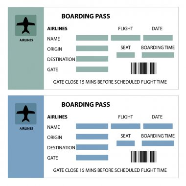 Illustration of two boarding passes on white background