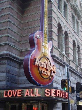 Hard Rock Cafe guitar signage in Philadelphia