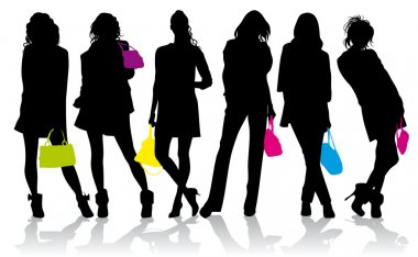 Silhouettes of the girls with colored handbags
