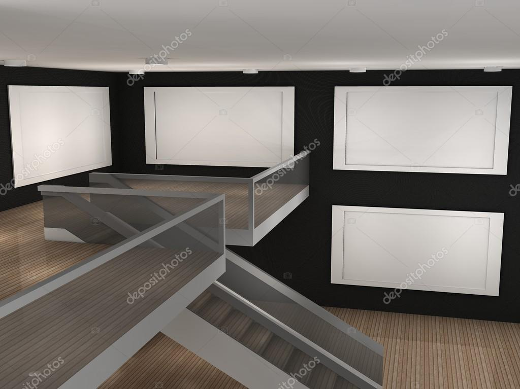 Illustration of a empty museum with 4 frames stock photo 3d illustration of a empty museum with 4 frames photo by gringos sciox Images