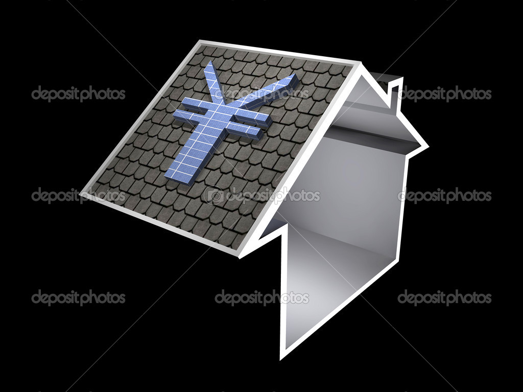 Illustration Of A Home Symbol With A Yen Solar Panel Stock Photo
