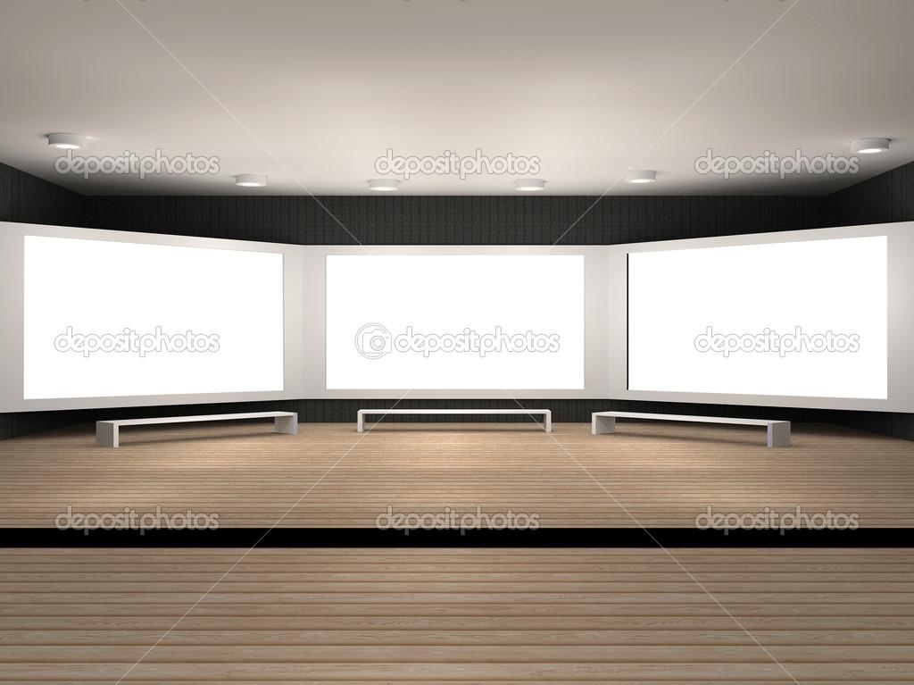 Ilustración de una sala del Museo con 3 marcos — Fotos de Stock ...