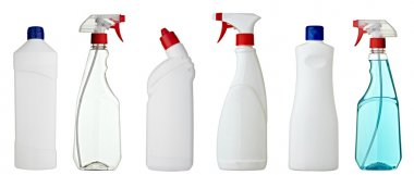 Collection of various sanitary bottles on white background. each one is shot separately stock vector