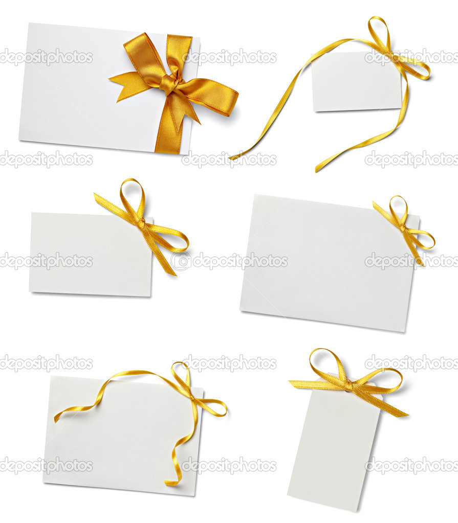Greeting card with ribbon note stock photo picsfive 13762257 collection of various card notes with ribbon on white backgroundeach one is shot separately photo by picsfive kristyandbryce Choice Image