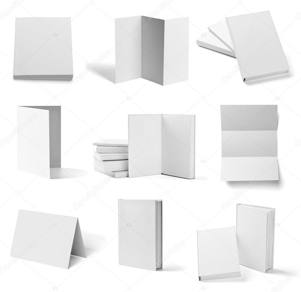 leaflet notebook textbook white blank paper template book stock