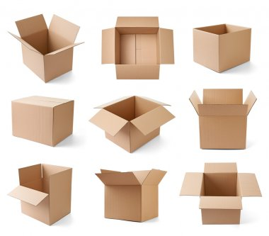 Collection of various cardboard boxes on white background. each one is shot separately stock vector