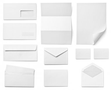 Collection of various blank white paper on white background. each one is shot separately stock vector