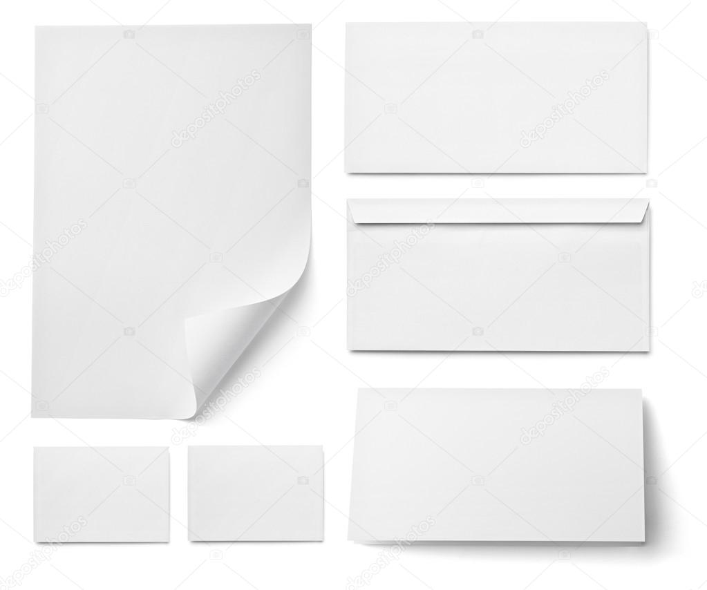 Leaflet letter business card white blank paper template stock collection of various blank white paper on white background each one is shot separately photo by picsfive reheart Choice Image