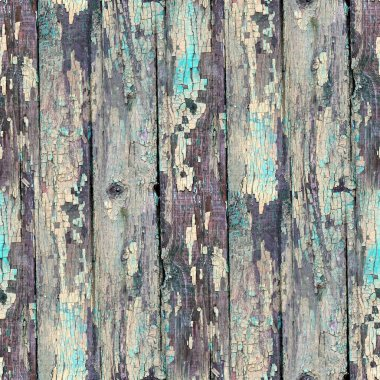 Seamless blue texture old wood with cracks