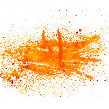 orange smear spot blob watercolor texture isolated on a white ba
