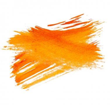 Orange watercolors spot blotch isolated on white background