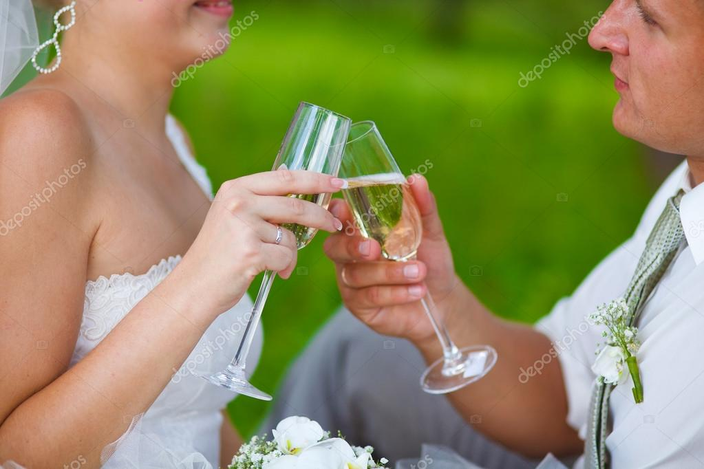 couple at wedding newlyweds a picnic in a forest clearing, the b