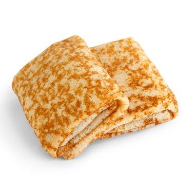 fried pancakes stuffed isolated white background