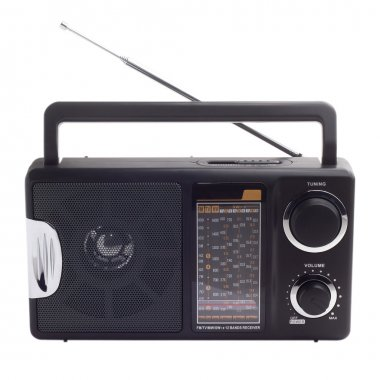vintage black radio to listen to isolated station waves