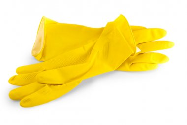 Yellow rubber gloves for washing dishes