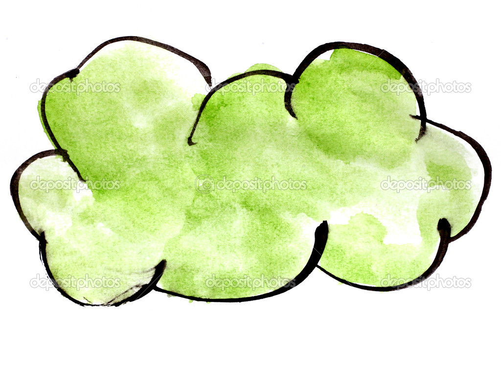 stroke green cloud paint brush color watercolor isolated on whit