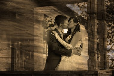 retro sepia black and white photo Bride and groom standing at ol