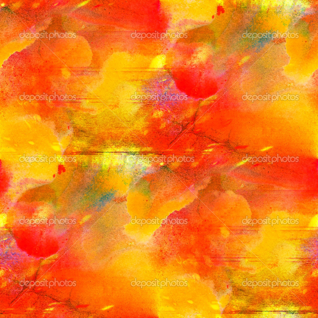 Seamless Abstract Art Yellow Red Texture Watercolor Wallpaper Stock Photo
