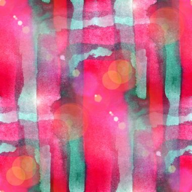 Sun glare abstract seamless painted watercolor green, red backgr