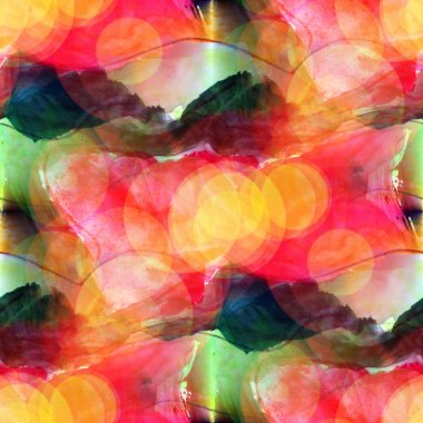 Sunlight abstract yellow, green watercolor stain