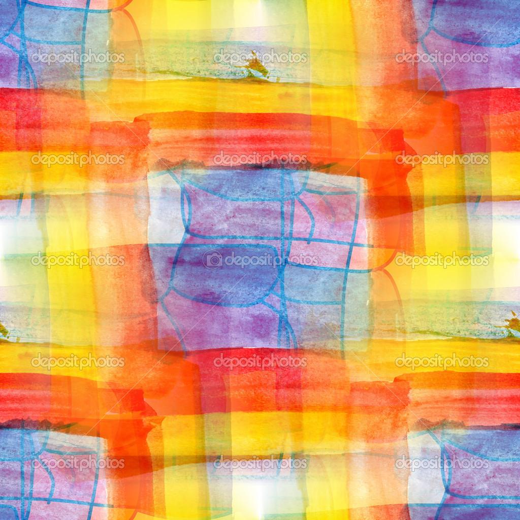 Artiste Trait Carré Bleu Peinture Jaune Rouge Pinceau Couleur