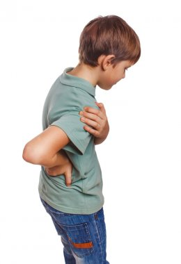 Osteochondrosis teenage boy holds his hand behind his back back pain